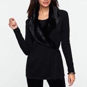 Talbots Faux Fur Collar Wrap Cardigan Black L